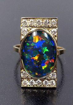 Opal Triplet & Diamond Ring, 10349003 | by NormanMonteau