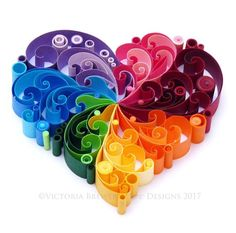 Quilled Paper Heart Valentines Anniversary by VBPureDesigns One of my latest des. - Quilling - by Victoria Brewer - Pure Designs - Rainbow Paper Quilling Tutorial, Paper Quilling Patterns, Quilled Paper Art, Quilling Paper Craft, Paper Quilling For Beginners, Paper Patterns, Quilling Ideas, Arte Quilling, Origami And Quilling
