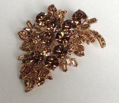 Vintage Topaz Rhinestone Leaf Brooch by WhirleyShirley on Etsy
