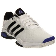 adidas Men`s Barricade Team 4 Tennis Shoes White and Iron Metallic