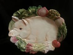 Fitz and Floyd French Market Pig Platter Wall Plaque Vintage #FitzandFloyd #luckieslea #frenchmarket #pig