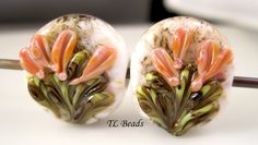 Flower Patch Handmade Lampwork Glass Bead Set SRA by TLBeads, $12.00