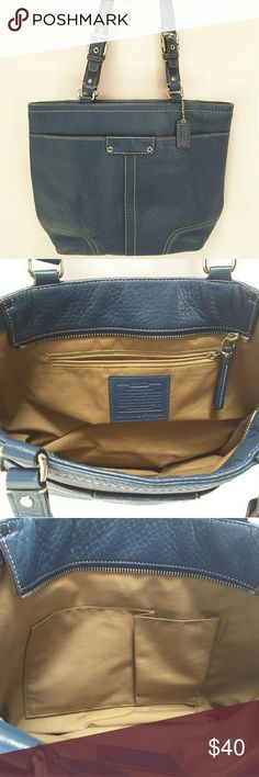 "Coach leather shoulder bag Coach F13089 shoulder bag Retails for $498   Features include One zipped interior rear pocket with Coach Creed, Front exterior large slit pocket w/ magnetic snap, inner wall zipper pocket and two multifunction slip pockets, top zipper closure, double shoulder strap chrome hardware   Condition; light scuffing at the bottom corners, No rips, tears, stains odors or damages   The bag measures approx. 9.5"" wide x 10.5"" tall x 3.5"" deep. The strap drop measures approx…"