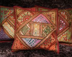 large seat cushion patchwork sitting bag bohemian by TheShantiHome