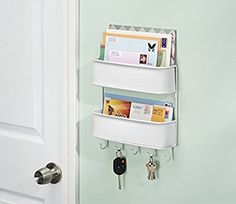 InterDesign Twillo Mail, Letter Holder, Key Rack Organizer for Entryway, Kitchen - Wall Mount, White Extra Storage Space, Storage Spaces, Mail Station, Key And Letter Holder, Letter Holder Wall, Letter Tray, Mail Sorter, Inside Cabinets, Key Organizer