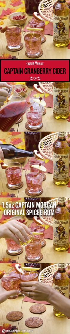 Fall means cranberry. Captain means fun. Put them together and you get fall fun.  Captain Cider Recipe (1 serving): 1 oz Captain Morgan Original Spiced Rum 3 oz Pumpkin beer 1 oz Ginger beer Get more rum recipes at https://us.captainmorgan.com/rum-cocktails/?utm_source=pinterest&utm_medium=social&utm_term=fall&utm_content=cranberry_cider&utm_campaign=recipe