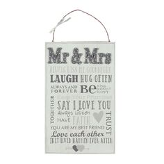 Love Story MDF Plaque Mr. And Mrs. Words For Marriage - WWG741