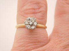 0.25 CARAT T.W. LADIES ROUND CUT DIAMOND CLUSTER RING 14K YELLOW GOLD #1987 #Cluster