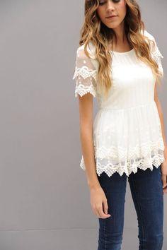 Double lace peplum shirt