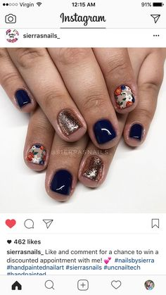 Try some of these designs and give your nails a quick makeover, gallery of unique nail art designs for any season. The best images and creative ideas for your nails. Get Nails, Fancy Nails, How To Do Nails, Shellac Nails, Nail Manicure, Nail Polish, Super Cute Nails, Pretty Nails, Nail Time