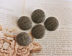 Handmade Small Rustic Country Dark Brown Typos Script Word Fabric Covered Buttons, Flat Backs, Fabric Covered Button, Covered Buttons, Script Words, North And South America, How To Make, Handmade, Dark Brown, Rustic, Flat
