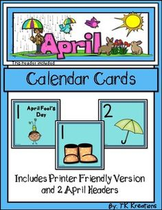 if you are looking for a cute and fun april calendar theme or are wanting to