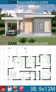 House Plans with 3 Bedrooms - Sam House Plans House Plans with 3 BedroomsThe House has:-Car Parking and garden-Living room,-Dining Bedrooms, 2 bathrooms Sims House Plans, House Layout Plans, New House Plans, Dream House Plans, Small House Plans, House Layouts, House Design Plans, 30x40 House Plans, Modern Bungalow House