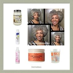 Natural Silver Sista/fb: 1. Apply Coconut Oil to dry hair 2. Cover w/ cap, sit under dryer 15-20 min. 3. Rinse. 4. Co-wash. 5. Rinse. LOC Method: 6. L (Leave-in) Knot Today to soaking wet hair 7. O (Oil) Coconut Oil to seal in moisture 8. C (Cream) Section hair, apply Curl Enhancing Smoothie to small sections while smoothing and stretching hair. 9. Apply Eco Styler Gel. 10. Sit under hood dryer until semi dry, complete by air drying. 11. Fluff from roots with a pick.