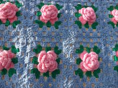 Small threedimensional roses crocheted afghan