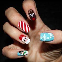 32 Christmas Nail Designs You'll Love CherryCherryBeauty.com  #nails #Christmasnails #Christmas #festive #festivenails #glitter #glitternails #noveltynails #santanails #fatherchristmasnails #snowmannails #snowflake #snowflakenails #reindeernails