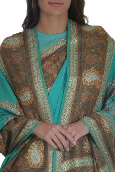 Limpet Shell Georgette Kashida Embroidered Saree And Pashmina Shawl