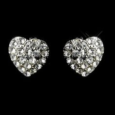 Silver Clear Rhinestone Heart Earrings Bridal Earrings, Silver Earrings, Diamond Earrings, Childrens Shop, Heart Shaped Earrings, Clear Crystal, Heart Shapes, Engagement Rings, Crystals