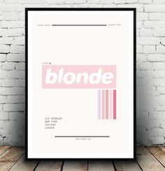 Frank ocean Blonde album cover wall art/fashion poster/music poster art for the home. A3 in size, this is my interpretation of Blonde!