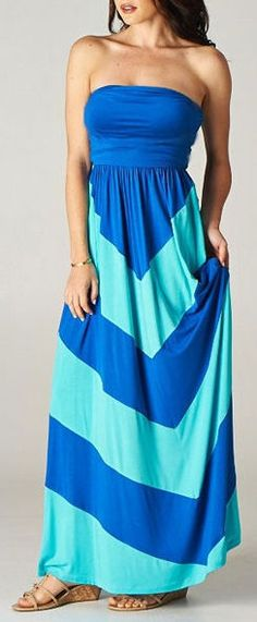 Colorblock Chevron Maxi Dress in Royal/Aqua ♥ Comfy & cUte!
