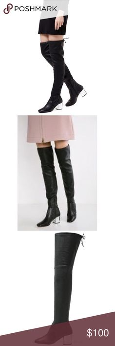 Carvela/Kurt Geiger Over Knee Leather boots, (39) Carvela by Kurt Geiger: Genuine leather over the knee boots with metallic silver heel.  Size 39. Absolutely gorgeous. These shoes were worn for only two hours. Carvela by Kurt Geiger Shoes Over the Knee Boots