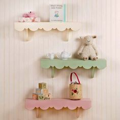 Scalloped Wall Shelves-Mix & match our pink, green & white cottage shabby chic shelves. So sweet in girl's baby nursery, big girl room, over a desk, bed or any wall to display her treasures.  Sweetly priced at $35.00 www.nobleniches.com