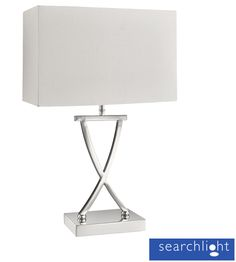 Searchlight Cross Shape 1 Light Table Lamp, Chrome With White Rectangle Shade - 7923CC None