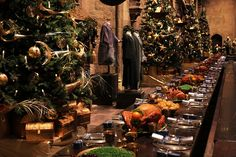 Eight Christmas trees will line the Great Hall, along with festoons of holly, mistletoe and golden wreaths. The food featured in the feasts throughout the early films was real; however, the Set Decoration Department later used artificial food created from powder and resin.