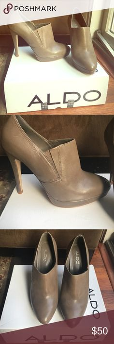 Aldo Brand new never worn tan booties! Leather tan booties. Brand new in box.  ❌no trades no holds❌ Aldo Shoes Ankle Boots & Booties