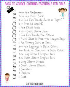printable back to school checklist school checklist  back to school clothing essentials printable checklists