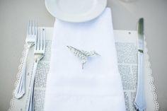 Origami hummingbird place settings via IndianWeddingSite.com