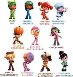 A list of some of the characters from the upcoming movie, Wreck-It Ralph. These are some of the characters from a fictional game called Sugar Rush Speed. Wreck-It Ralph :Sugar Rush Speedway characters: Comic Character, Character Design, Seat Belt Pillow, Vanellope Von Schweetz, Cute Art Styles, Christmas Sugar Cookies, Wreck It Ralph, Disney Fan Art, Disney Artwork