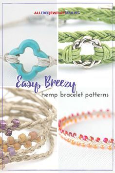 Easy, Breezy Hemp Bracelet Patterns This collection of hemp bracelet tutorials is fresh and summery - just what the doctor ordered!This collection of hemp bracelet tutorials is fresh and summery - just what the doctor ordered! Hemp Bracelet Tutorial, Macrame Bracelet Patterns, Crochet Bracelet, Friendship Bracelet Patterns, Jewelry Patterns, Bead Patterns, Friendship Bracelets, Rope Jewelry, Jewelry Crafts
