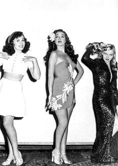 Paulette Goddard, Dorothy Lamour, and Veronica Lake in Star Spangled Rhythm (1942)