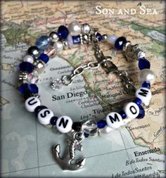 US Navy Mom coiled beaded bracelet by Son and Sea by sonandsea, $22.00