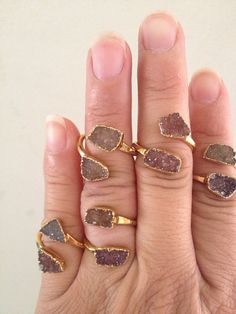 Stackable Druzy Rings by TrulyBlessedJewels on Etsy, $70.00
