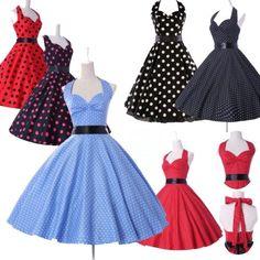 50s-ROCKABILLY-ama-de-casa-Vintage-Hepburn-Swing-vestido-Pinup-fiesta-Polka-Dots