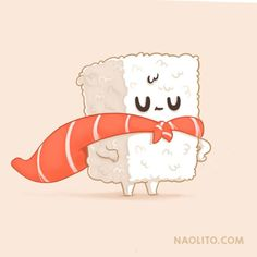 Sushi Heroe by Naolito Funny Doodles, Kawaii Doodles, Cute Doodles, Cute Cartoon Drawings, Cartoon Art Styles, Kawaii Drawings, Sushi Cartoon, Kawaii Illustration, Sushi Art