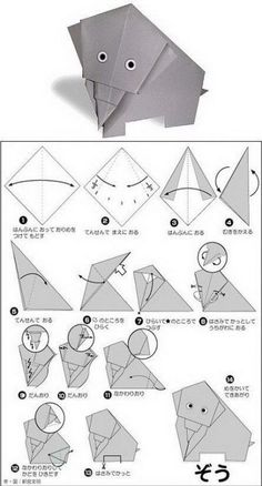 Easy origami for for kids….un lindo elefante de origami para – Easy origami for kids …. A beautiful origami elephant for – Origami Design, Origami Tutorial, Origami Simple, Easy Origami For Kids, Instruções Origami, Origami Yoda, Origami Bookmark, Origami Folding, Useful Origami