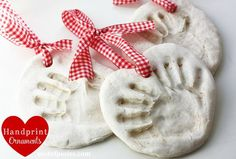 Salt dough hand print ornaments... these would make a great gift!