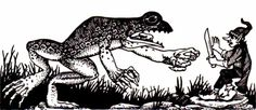 Giant frog by Dave Trampier, from the AD&D Players Handbook, TSR, 1978.