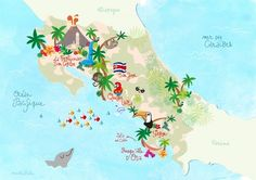 Carte illustrée du Costa Rica