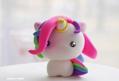 Kawaii Unicorn Figurine / Cute Baby Unicorn / Collectible Toy, Party Cake Topper by Naboko Studio