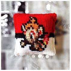 Now available on the #cannon_ink etsy shop.  https://www.etsy.com/shop/CannonInk?ref=hdr_shop_menu #chimchar #Pokemon #Pokeball #crochet #pillow #pixel #pixelart #knitpillow