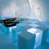 Ice room at the Ice Hotel in Jukkasjarvi Sweden