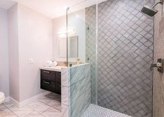 Gallery of Arabesque tiles including kitchen backsplash, bathroom shower & flooring designs. See pictures of Arabesque tile ideas you can use for your designs. Bathroom Tub Shower, Bathroom Floor Tiles, Shower Doors, Bathtub, Large Bathrooms, Bathroom Design Small, Bathroom Designs, Beige Wall Paints, Arabesque Tile