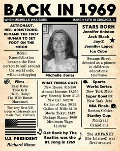 Personalized 50th Birthday NEWSPAPER Poster, 1969 Facts DIGITAL FILE