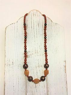 Carnelian Beaded Necklace  Amber Necklace  Rust Necklace