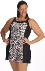 Plus Size Safari print Swim Dress. Comes in more colors! Size XL - 6X JunoActive.com
