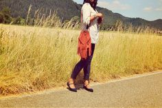 Tassle suede bag and flat shoes